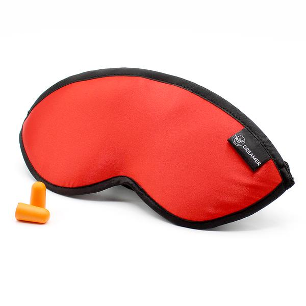 Luxury Red Dreamer Sleep Mask with earplugs