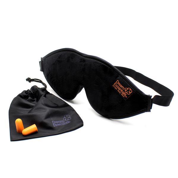Luxury Black Escape Sleep with eye cutouts Mask with earplugs