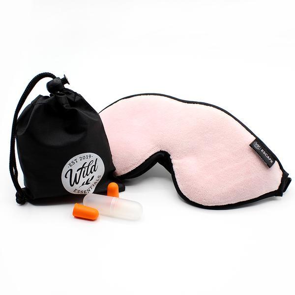 Luxury Pink Escape Sleep with eye cutouts Mask with earplugs