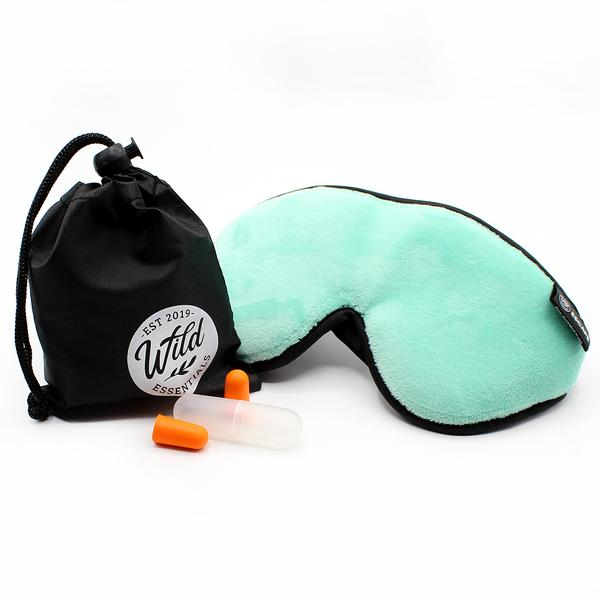 Luxury Mint Green Escape Sleep with eye cutouts Mask with earplugs