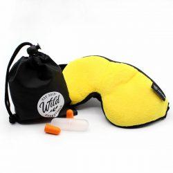 Luxury Yellow Escape Sleep with eye cutouts Mask with earplugs