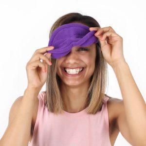 Lady Wearing Infinity Sleep Mask