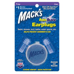 Macks Aquablock Waterproof Earplugs Clear