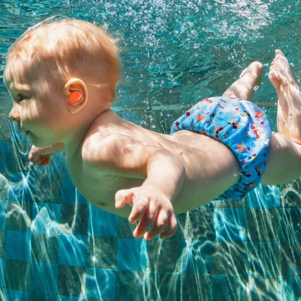 baby swimming with earplugs