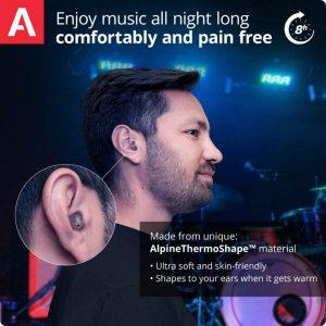 musician wearing earplugs