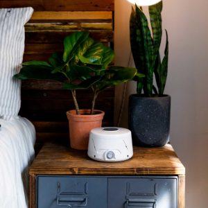 Dohm White Noise Machine next to bed