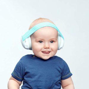cute baby wearing earmuffs