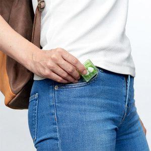 earplugs in persons pocket