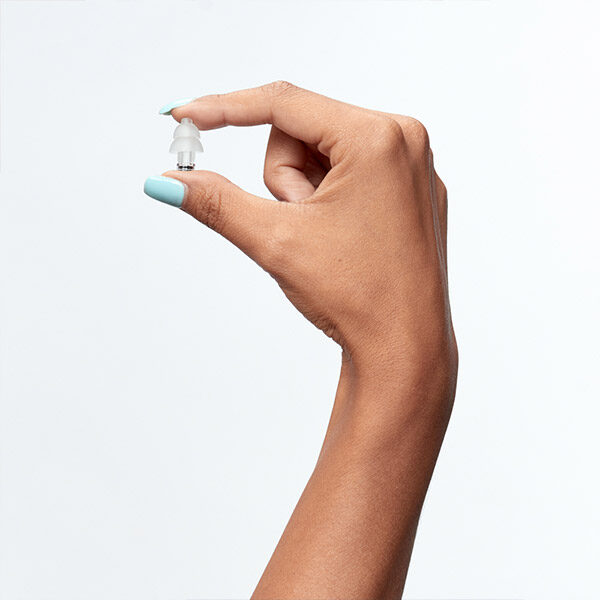 lady holding party earplugs