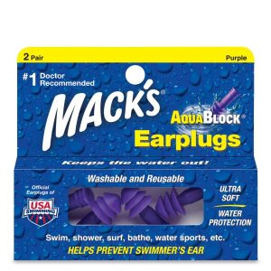 Mack's Aquablock REUSABLE Soft Silicone Waterproof Ear Plugs 2 PAIR