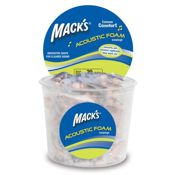 100 Pair Macks Musicians Acoustic Soft Foam Earplugs - 100 Pair