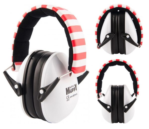 Red Striped Alpine Muffy - Kids Ear Muffs
