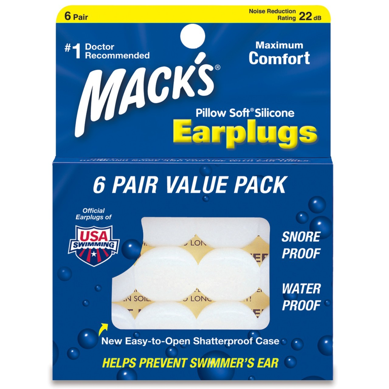 Pillow Soft Silicone Waterproof Ear Plug - Adult Value Pack 6 Pair
