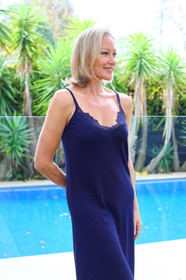 Lady Wearing Moisture Wicking Nightie for Menopause