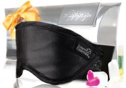 Luxury Mulberry Silk Sleep Mask Gift Set Black