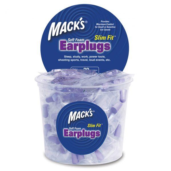 Mack's Slim Fit Purple Earplugs Tub - 100 Pair