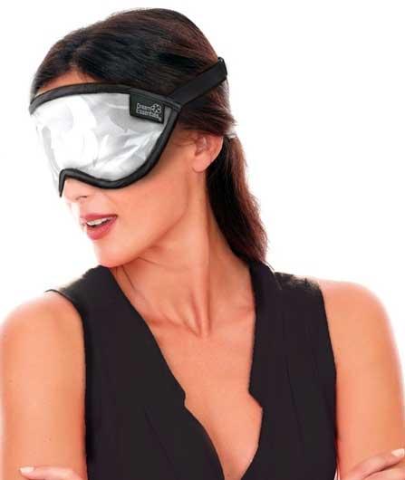 lady wearing silver sleep mask