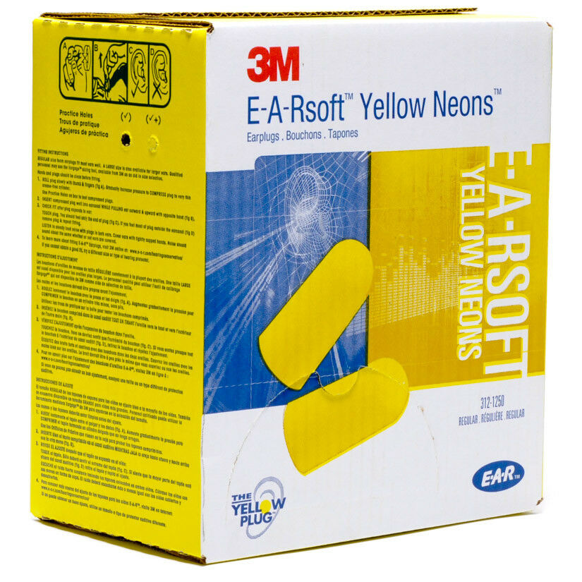 3m E A Rsoft Earplugs Yellow Neon Regular Uncorded 200