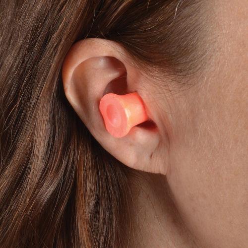 lady wearing Honeywell max 1 soft foam earplug for noise