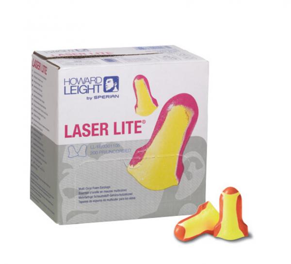 box of 200 Howard Leight laser lite soft foam earplug for noise