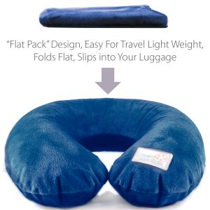blue plush inflatable travel pillow
