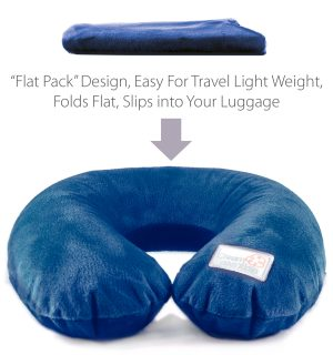 blue plush inflatable travel pillow