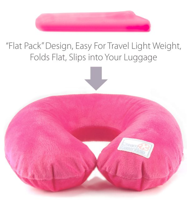 pink plush inflatable travel pillow