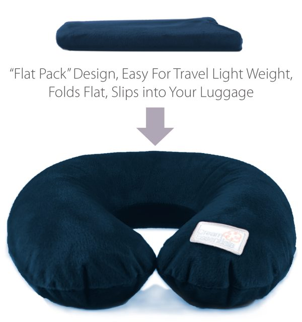 navy plush inflatable travel pillow