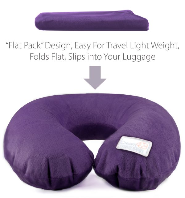 purple plush inflatable travel pillow