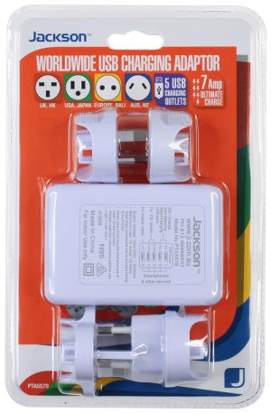 Outbound Travel Adaptor with 4 USB Fast Charging Outlets 3 Amp outlets universal Sleep and Sound