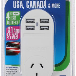 4 USB Outbound Travel Adaptor with 4 USB Fast Charging Outlets 3 Amp outlets Sleep and Sound
