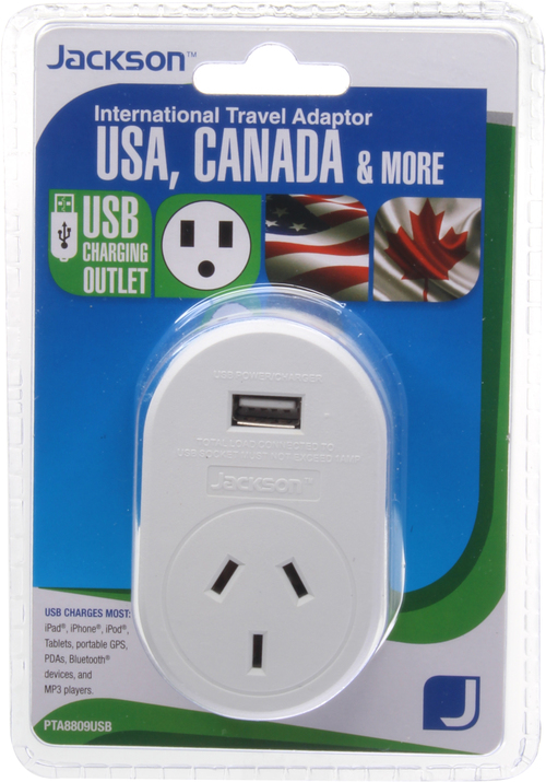 USA Canada Outbound Travel Adaptor with 4 USB Fast Charging Outlets 3 Amp outlets Sleep and Sound