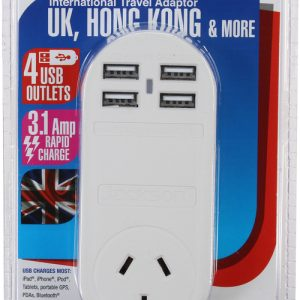 Outbound Travel Adaptor with 4 USB Fast Charging Outlets 3 Amp Suits UK outlets Sleep and Sound