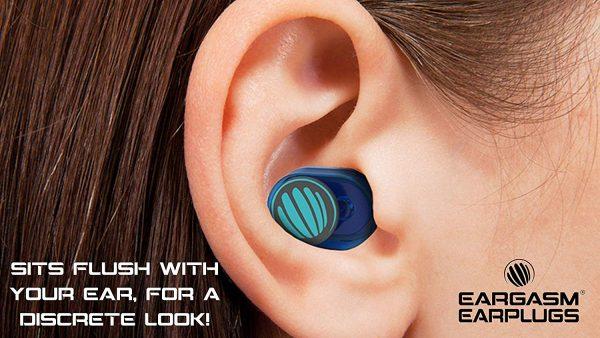 lady wearing Eargasm Earplugs Volume Sleep and Sound