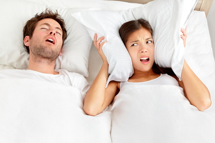 Snoring man - couple in bed Sleep and Sound
