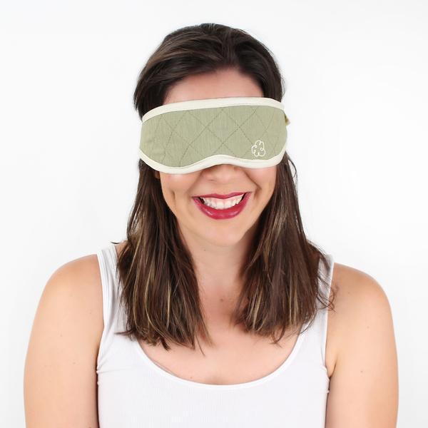 lady wearing natural bamboo sleep mask