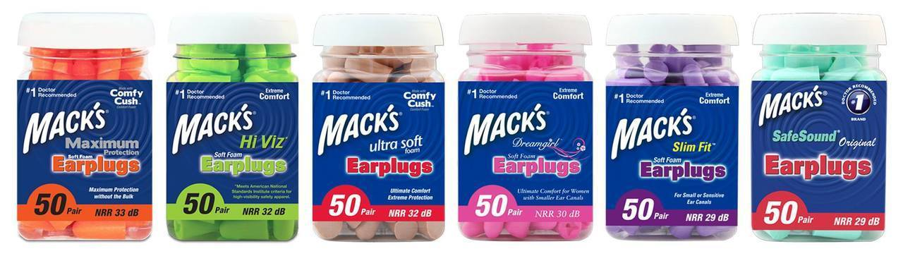 Macks Maximum Hearing Protection - 50 Pair - Soft Foam Earplugs