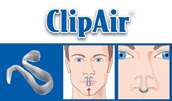 man wearing Clipair Device for snoring