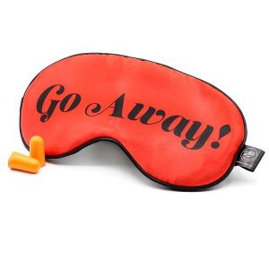 Red Sleep Mask with funny text saying Go Away