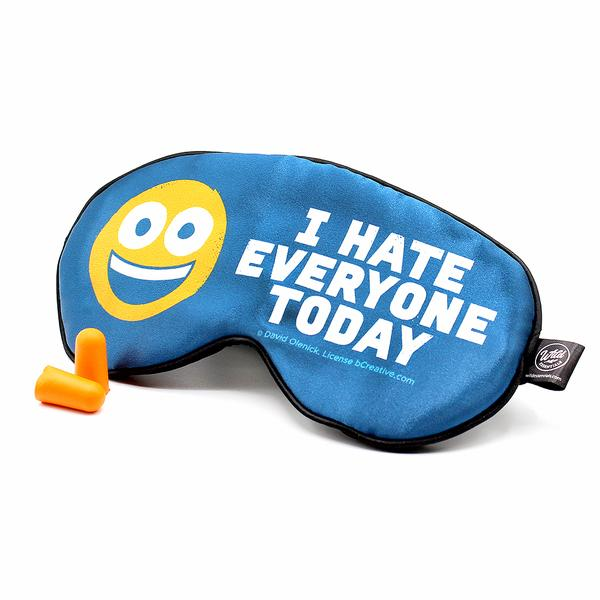 Funny Text Sleep Mask Saying HATE EVERYONE