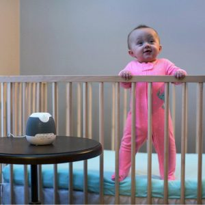 Baby in Cot with My Baby Sound Spa Lullaby with Projector