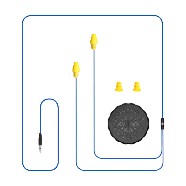plugfones guardian blue and yellow cable