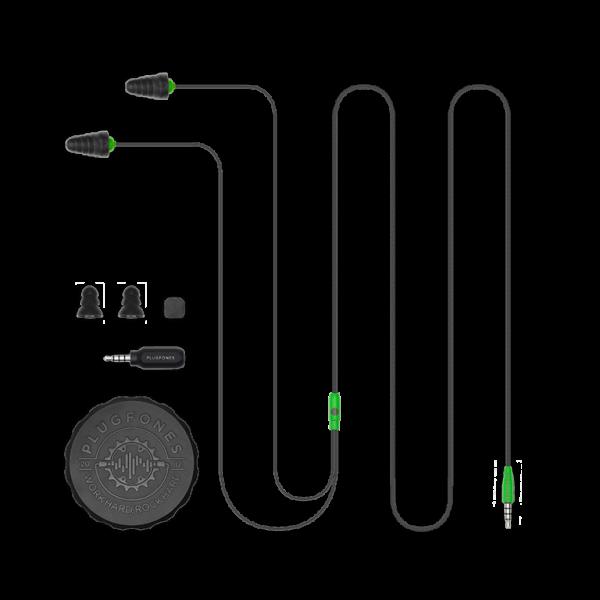 Bluetooth Plugfones Protector Earplugs with Headphones Green