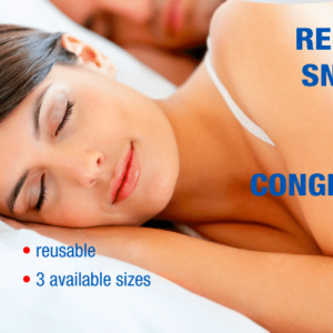 lady sleeping with nasal breathing device to relieve snoring