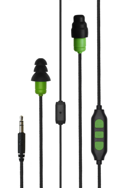 Green Plugfones Protector PLUS Industrial Earplugs with Headphones