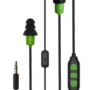 Green Plugfones Protector PLUS Industrial Earplugs with Headphones