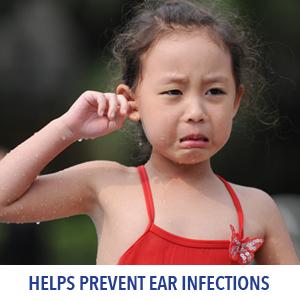 kid wearing earplugs to stop ear infection