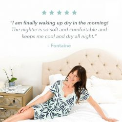 Lady on bed with Moisture Wicking Sleepwear