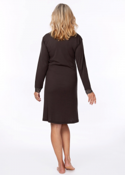 long sleeve charcoal moisture wicking nightie for menopause