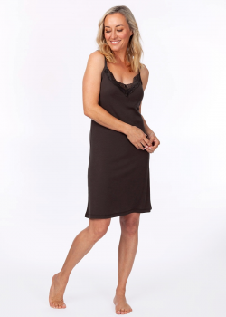short sleeve charcoal moisture wicking nightie for menopause